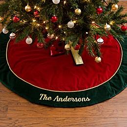 Velvet Splendor Embroidered Christmas Tree Skirt