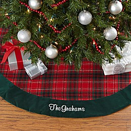 Personalization Mall Personalized 47.5-Inch Holiday Plaid Christmas Tree Skirt