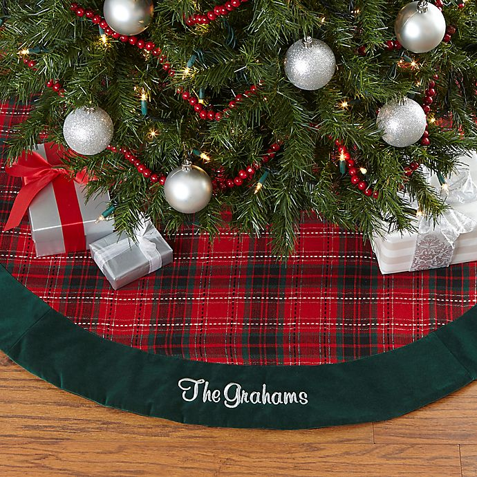Alternate image 1 for Personalization Mall Personalized 47.5-Inch Holiday Plaid Christmas Tree Skirt