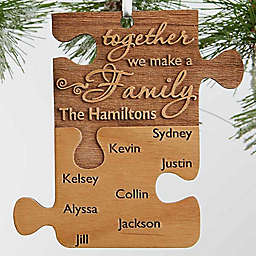 Pieces Of Love Wood Family Christmas Ornament