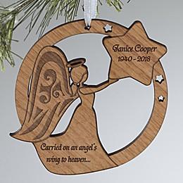 Memorial Angel Wood Christmas Ornament