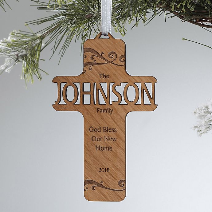 Alternate image 1 for Bless Our Family Wood Christmas Ornament