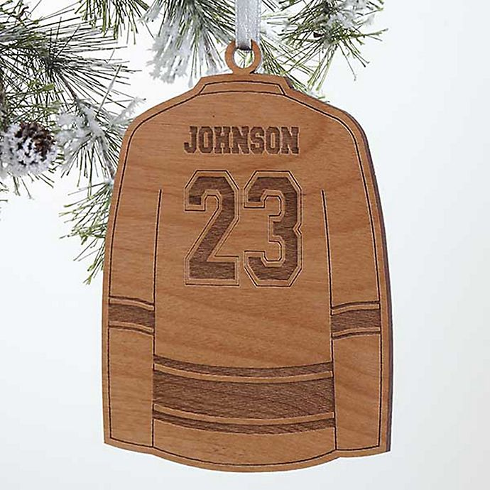 Alternate image 1 for Hockey Jersey Wood Christmas Ornament