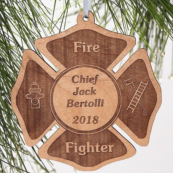 Alternate image 1 for Firefighter Engraved Christmas Ornament