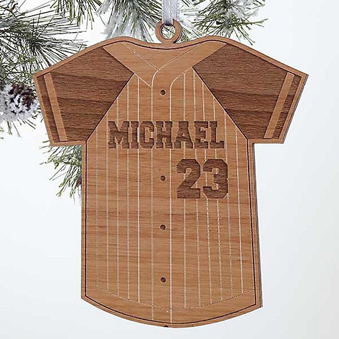 Alternate image 1 for Baseball Jersey Wood Christmas Ornament