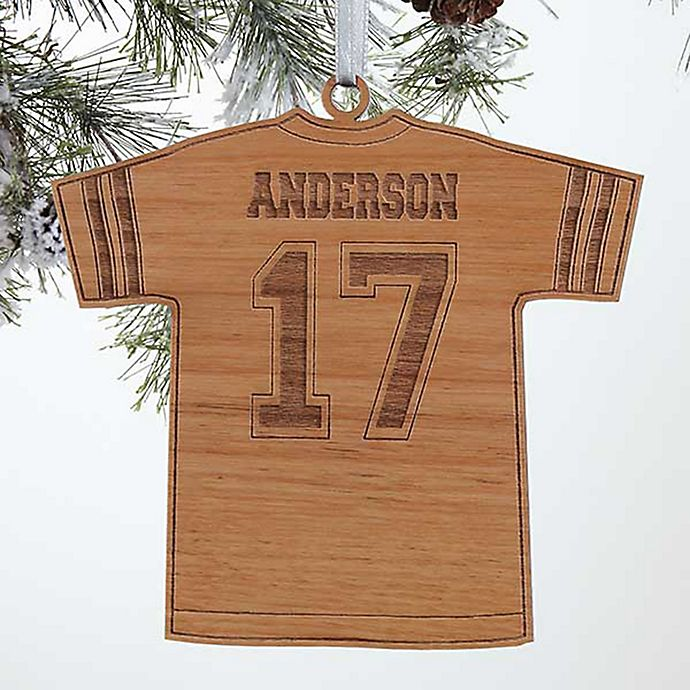 Alternate image 1 for Football Jersey Wood Christmas Ornament