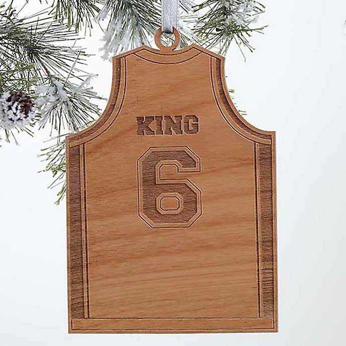 Alternate image 1 for Basketball Jersey Wood Christmas Ornament