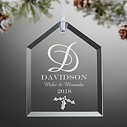 Our Monogram Engraved House Christmas Ornament
