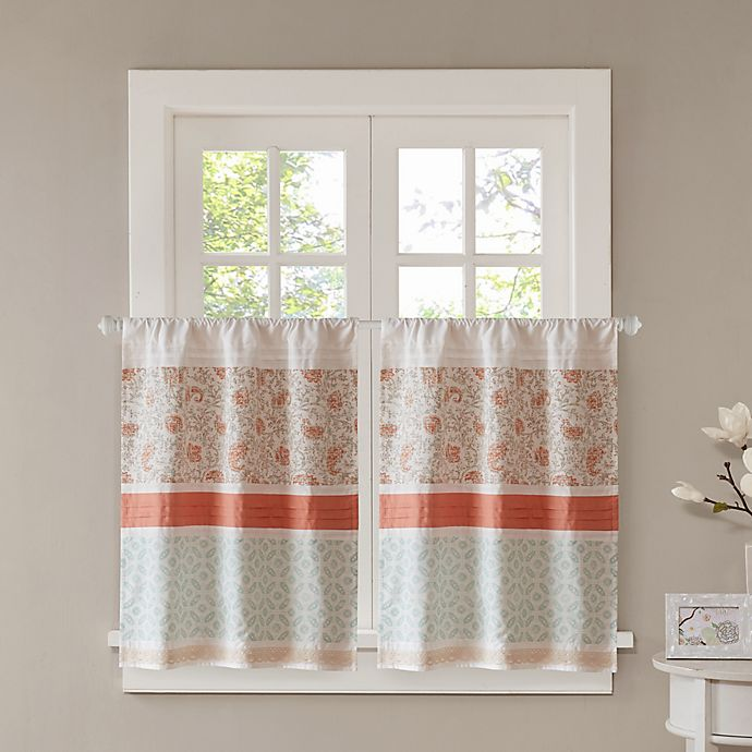 Alternate image 1 for Madison Park Dawn 36-Inch Kitchen Window Curtain Tier Pair in Coral