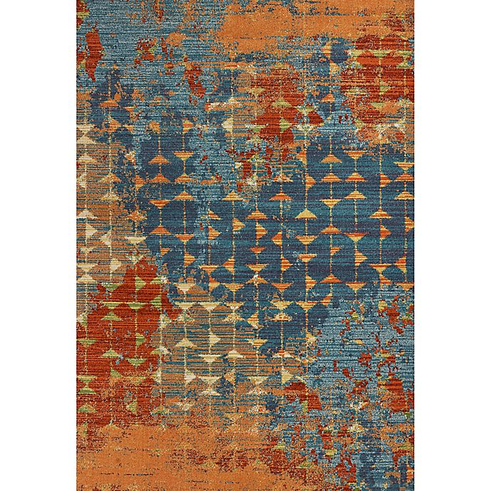 Alternate image 1 for KAS Illusions Elements 7-Foot 10-Inch x 10-Foot 10-Inch Area Rug in Blue/Coral