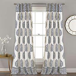 Teardrop Leaf Rod Pocket Room Darkening Window Curtain Panels (Set of 2)