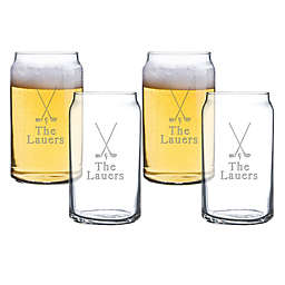 Carved Solutions Golf Beer Can Glasses (Set of 4)