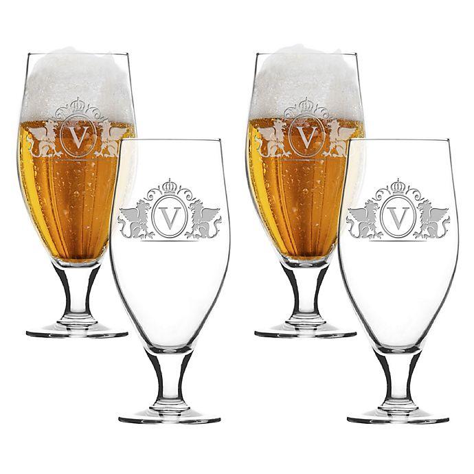 Alternate image 1 for Carved Solutions Griffin Cervoise Glasses (Set of 4)