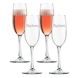 Carved Solutions Glass Champagne Flutes (Set of 4)