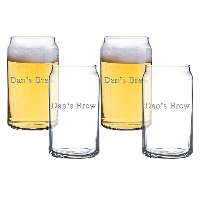 Alternate image 1 for Carved Solutions Beer Can Glasses (Set of 4)