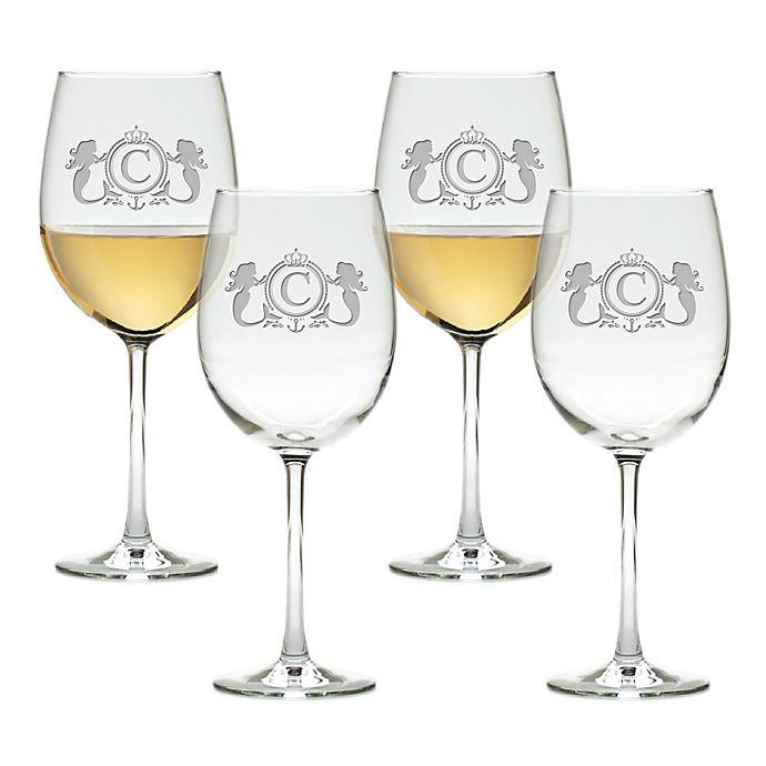 Alternate image 1 for Carved Solutions Mermaid Tulip Wine Glasses (Set of 4)