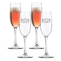 Carved Solutions Mermaid Champagne Flutes (Set of 4)