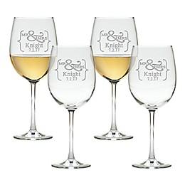 Carved Solutions Mr. & Mrs. Tulip Wine Glasses (Set of 4)