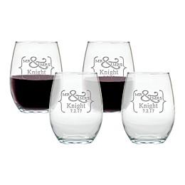 Carved Solutions Mr. & Mrs. Stemless Wine Glasses (Set of 4)