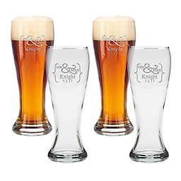 Carved Solutions Mr. & Mrs. Pilsner Glasses (Set of 4)