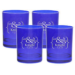 Carved Solutions Mr. & Mrs. Old-Fashioned Glasses (Set of 4)