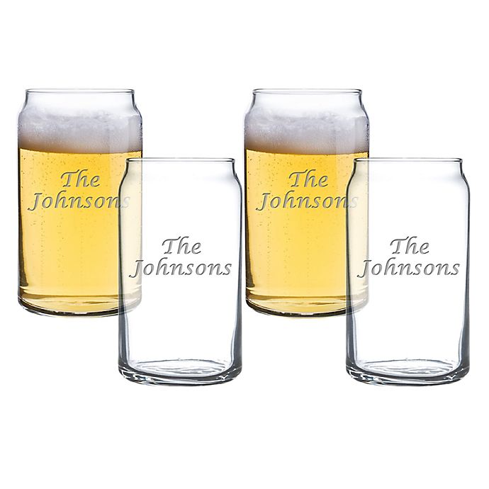 Alternate image 1 for Carved Solutions Multi Name Beer Can Glasses (Set of 4)