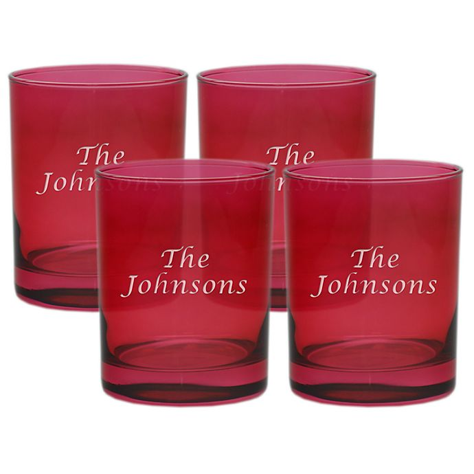 Alternate image 1 for Carved Solutions Multi Name Old-Fashioned Glasses in Ruby (Set of 4)