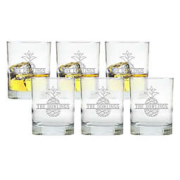 Carved Solutions Split Pineapple Double Old Fashion Glasses (Set of 6)