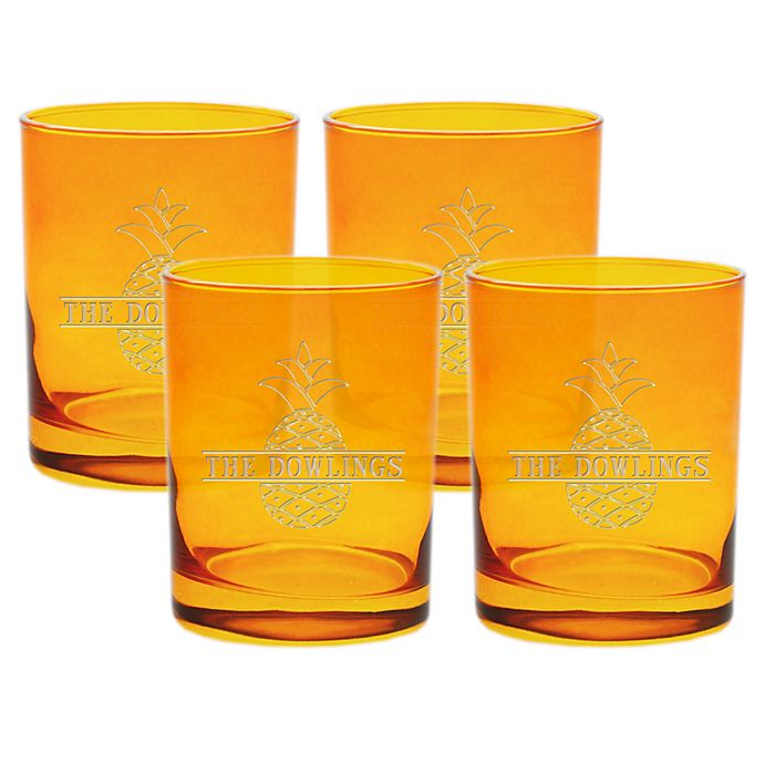 Alternate image 1 for Carved Solutions  Pineapple Old Fashion Glasses in Topaz (Set of 4)