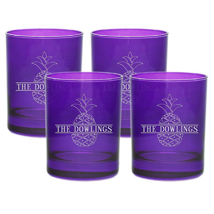 Alternate image 1 for Carved Solutions  Pineapple Old Fashion Glasses in Amethyst (Set of 4)