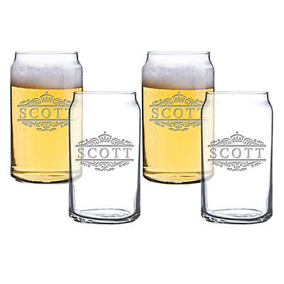 Carved Solutions Scott Beer Can Glasses (Set of 4)