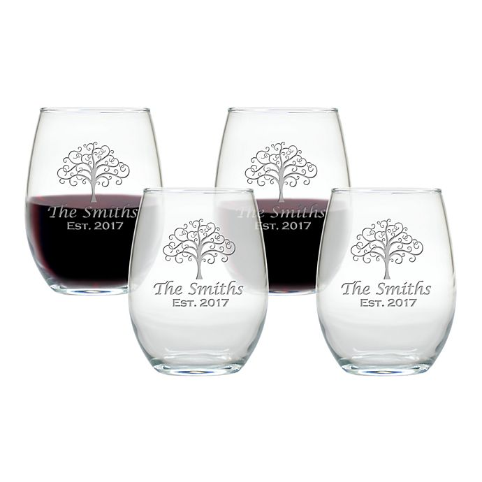 Alternate image 1 for Carved Solutions Tree of Life Stemless Wine Tumbler (Set of 4)