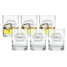 Carved Solutions Trout Double Old Fashioned Glasses (Set of 6)