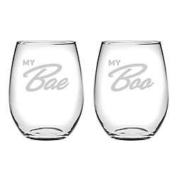 Susquehanna Glass My Bae & My Boo Stemless Wine Glasses (Set of 2)