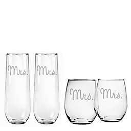 Susquehanna Glass Mrs. & Mrs. Stemless Wine Glass Collection