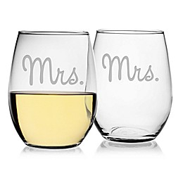 Susquehanna Glass Mrs. & Mrs. Stemless Wine Glasses (Set of 2)