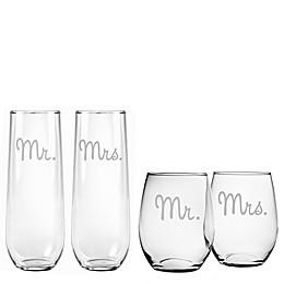 Susquehanna Glass Mr. & Mrs. Wine Glass Collection