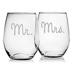 Susquehanna Glass Mr. & Mrs. Stemless Wine Glasses (Set of 2)