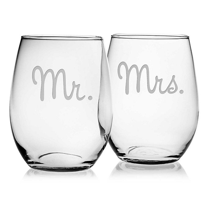 Alternate image 1 for Susquehanna Glass Mr. & Mrs. Stemless Wine Glasses (Set of 2)