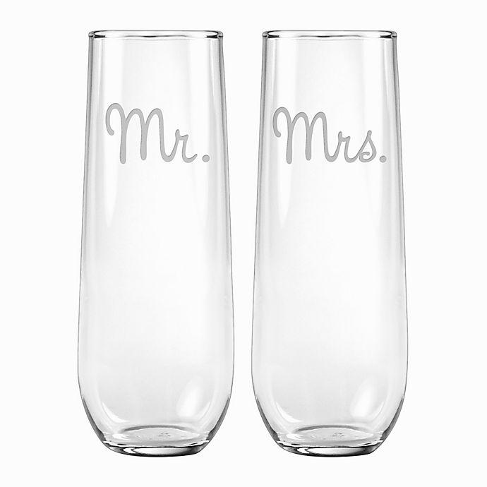 Alternate image 1 for Susquehanna Glass Mr. & Mrs. Stemless Flutes (Set of 2)