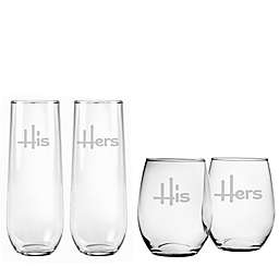 Susquehanna Glass His & Hers Stemless Wine Glass Collection