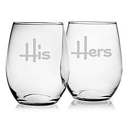 Susquehanna Glass His & Hers Stemless Wine Glasses (Set of 2)