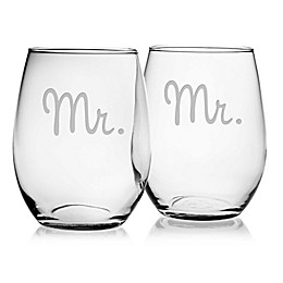 Susquehanna Glass Mr. & Mr. Stemless Wine Glasses (Set of 2)