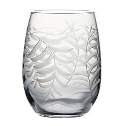 Susquehanna Glass Hand-Cut Palm Stemless Wine Glasses (Set of 4)