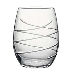 Susquehanna Glass Hand-Cut Swirl Stemless Wine Glasses (Set of 4)
