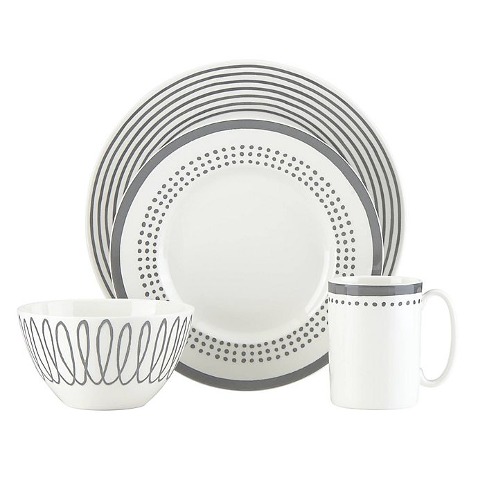 Alternate image 1 for kate spade new york Charlotte Street™ East 4-Piece Place Setting in Slate