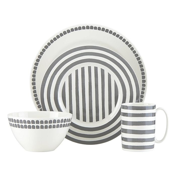 Alternate image 1 for kate spade new york Charlotte Street™ North 4-Piece Place Setting in Slate