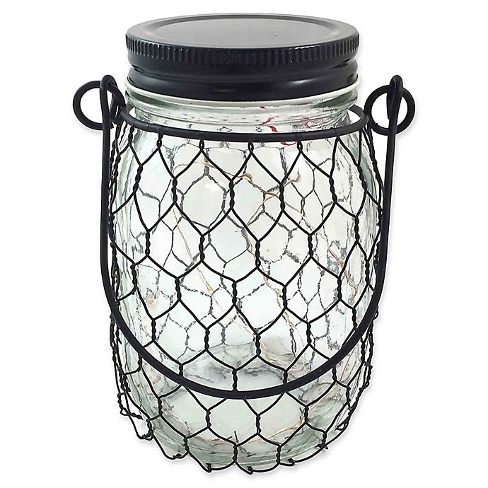 Alternate image 1 for The Gerson Companies 5.4-Inch Lighted Clear Glass Jar with Black Wire, Lid, and Handle