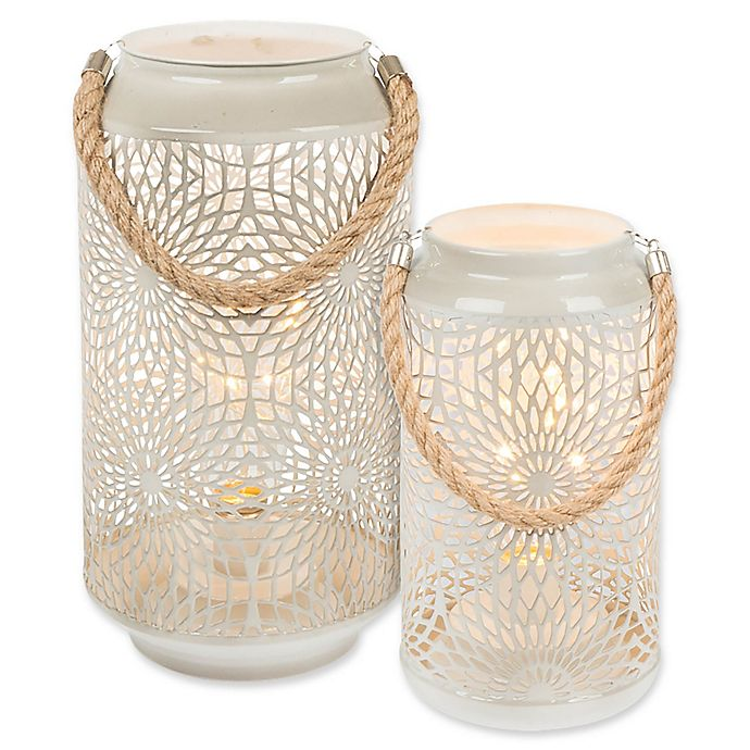 Alternate image 1 for Gerson Metal/Rope Lantern with Micro LED Lights in Grey