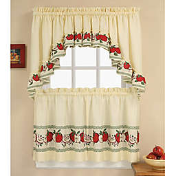 Red Delicious Kitchen Window Curtain Tiers and Swag